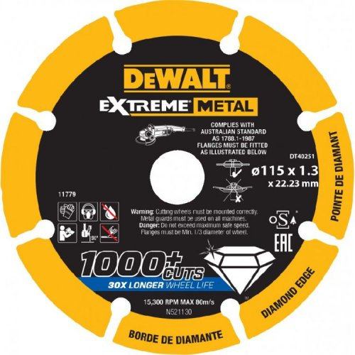 Disco diamantato taglio metalli DEWALT DT40251 ø 115MM