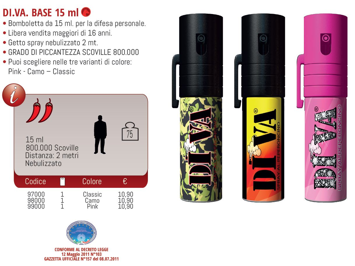 Spray peperoncino diva base pink 15ml toolshop italia - Spray al peperoncino diva top camo ...